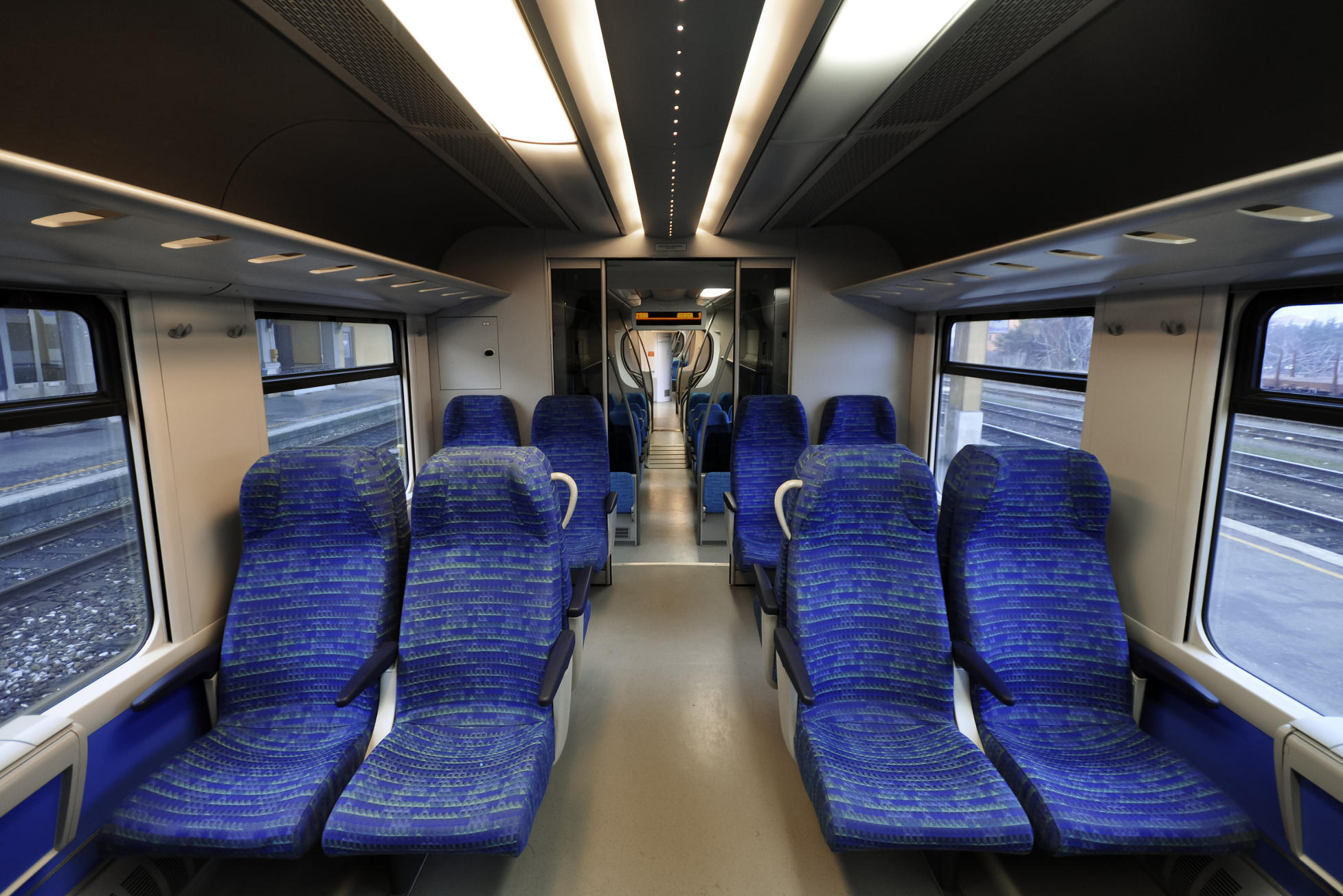 Vacant seats inside an empty passenger train