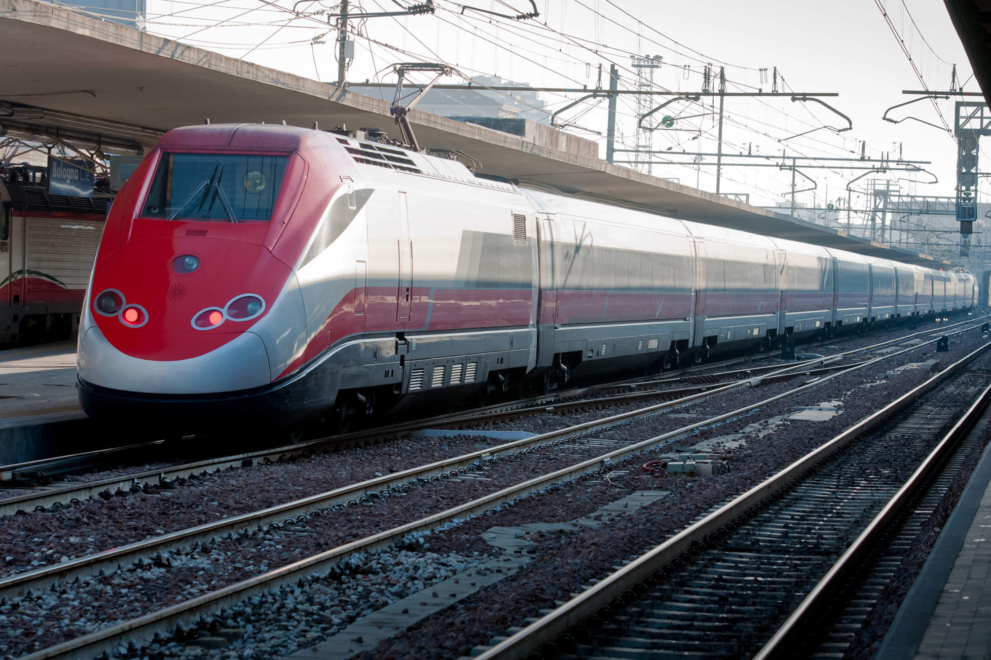 the Italian high speed train leaving the station